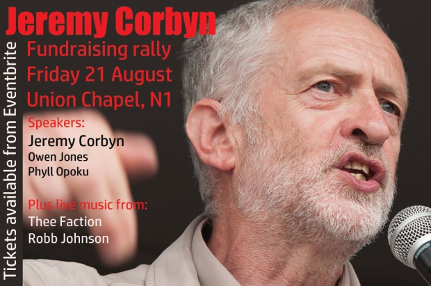 21 August: Corbyn speaks, Thee Faction play, money is raised, the cause of socialism is furthered.